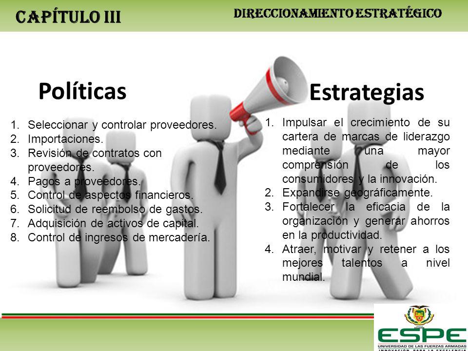 CAPÍTULO III DIRECCIONAMIENTO ESTRATÉGICO Políticas Estrategias 1.Seleccionar y controlar proveedores. 2.Importaciones. 3.Revisión de contratos con pr