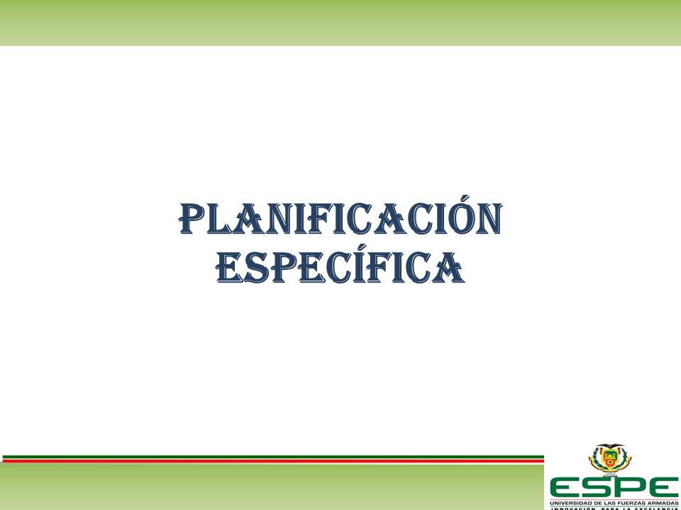 Planificación ESPECÍFICA