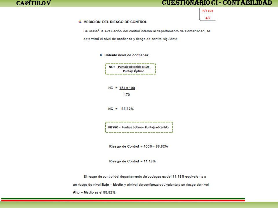 CAPÍTULO V CUESTIONARIO CI - CONTABILIDAD