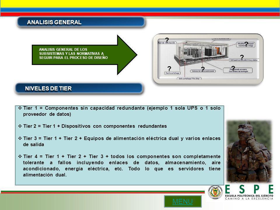 ANALISIS GENERAL NIVELES DE TIER Tier 1 = Componentes sin capacidad redundante (ejemplo 1 sola UPS o 1 solo proveedor de datos) Tier 2 = Tier 1 + Disp