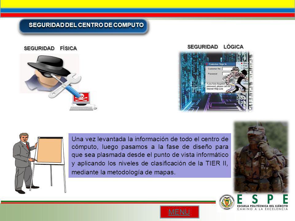SEGURIDAD DEL CENTRO DE COMPUTO SEGURIDAD FÍSICA SEGURIDAD LÓGICA Una vez levantada la información de todo el centro de cómputo, luego pasamos a la fa