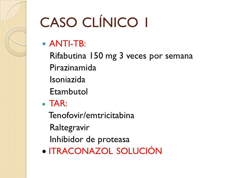 CASO CLÍNICO 1 ANTI-TB: Rifabutina 150 mg 3 veces por semana Pirazinamida Isoniazida Etambutol TAR: Tenofovir/emtricitabina Raltegravir Inhibidor de p