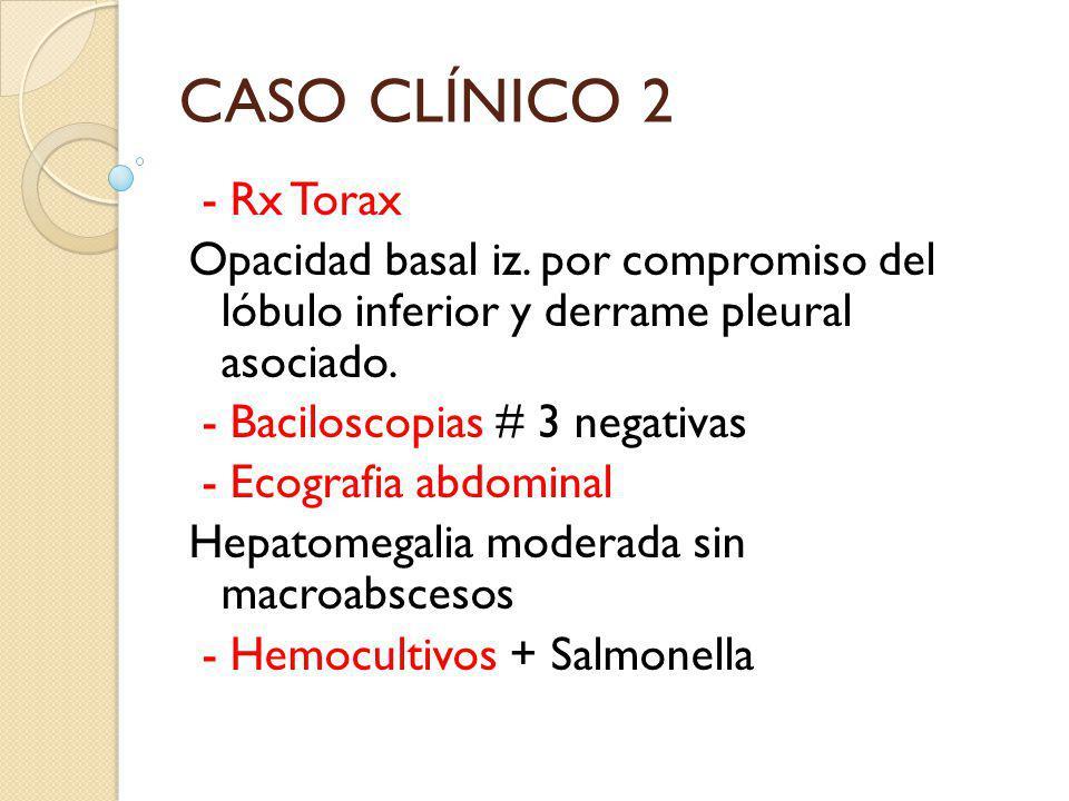 CASO CLÍNICO 2 - Rx Torax Opacidad basal iz. por compromiso del lóbulo inferior y derrame pleural asociado. - Baciloscopias # 3 negativas - Ecografia