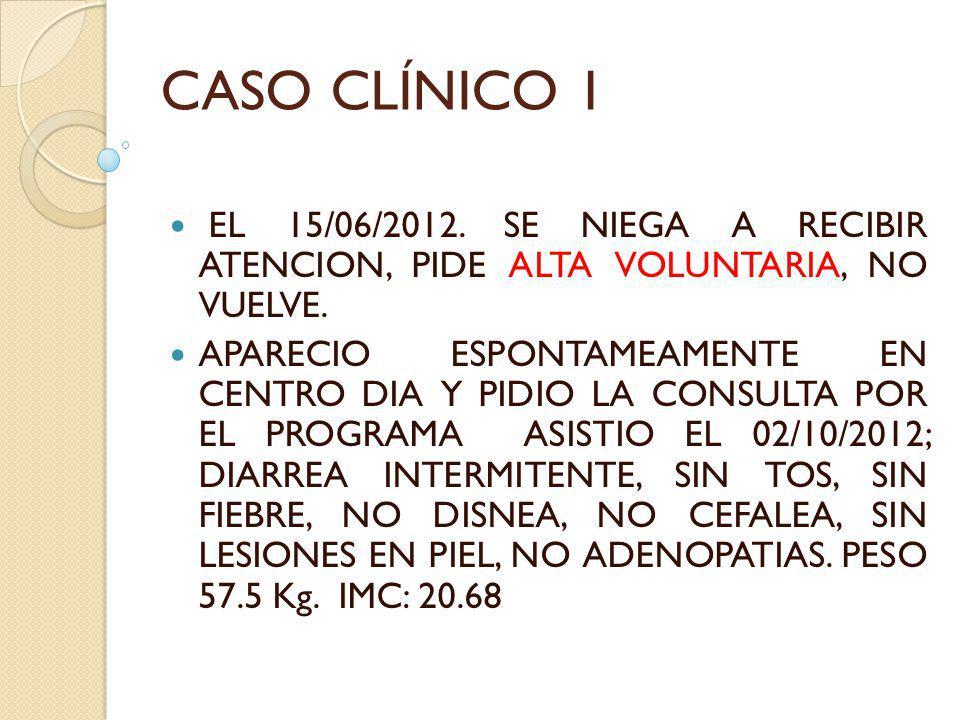 CASO CLÍNICO 1 EL 15/06/2012. SE NIEGA A RECIBIR ATENCION, PIDE ALTA VOLUNTARIA, NO VUELVE. APARECIO ESPONTAMEAMENTE EN CENTRO DIA Y PIDIO LA CONSULTA