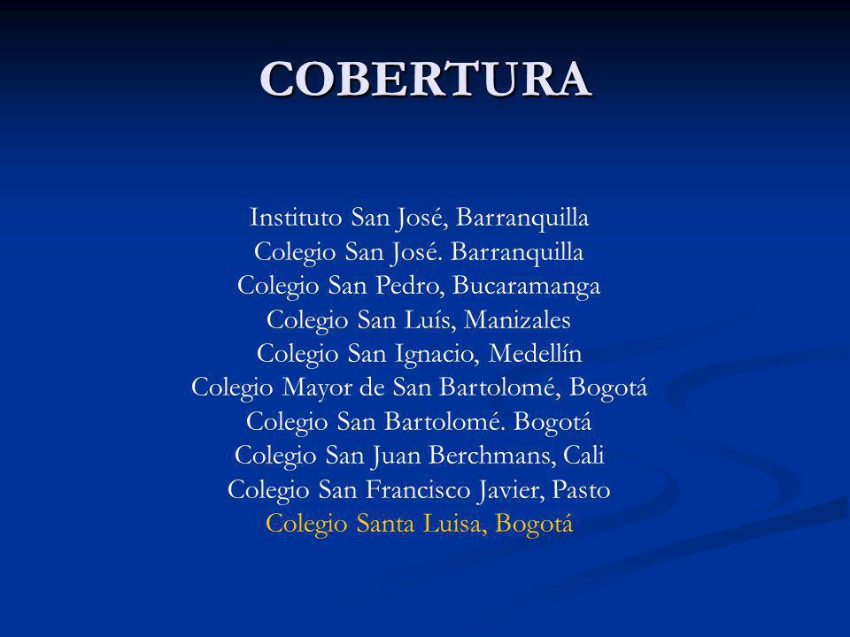 COBERTURACOBERTURA Instituto San José, Barranquilla Colegio San José. Barranquilla Colegio San Pedro, Bucaramanga Colegio San Luís, Manizales Colegio