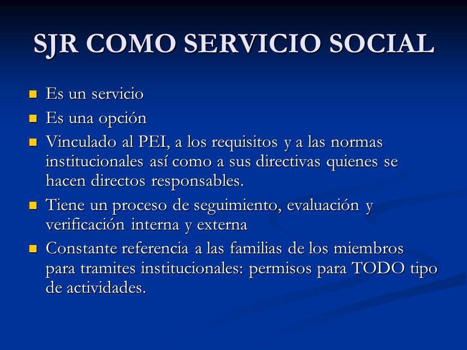 Es un servicio Es un servicio Es una opción Es una opción Vinculado al PEI, a los requisitos y a las normas institucionales así como a sus directivas