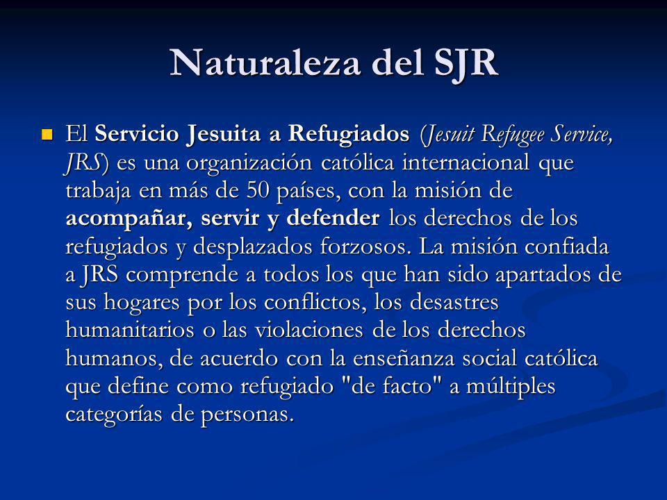 Naturaleza del SJR El Servicio Jesuita a Refugiados (Jesuit Refugee Service, JRS) es una organización católica internacional que trabaja en más de 50