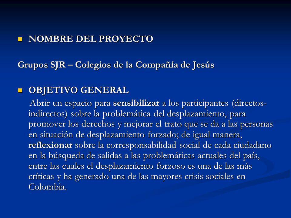 NOMBRE DEL PROYECTO NOMBRE DEL PROYECTO Grupos SJR – Colegios de la Compañía de Jesús OBJETIVO GENERAL OBJETIVO GENERAL Abrir un espacio para sensibil