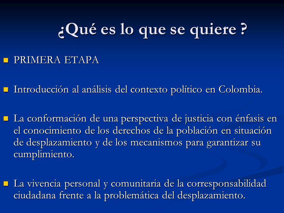 ¿Qué es lo que se quiere ? PRIMERA ETAPA PRIMERA ETAPA Introducción al análisis del contexto político en Colombia. Introducción al análisis del contex
