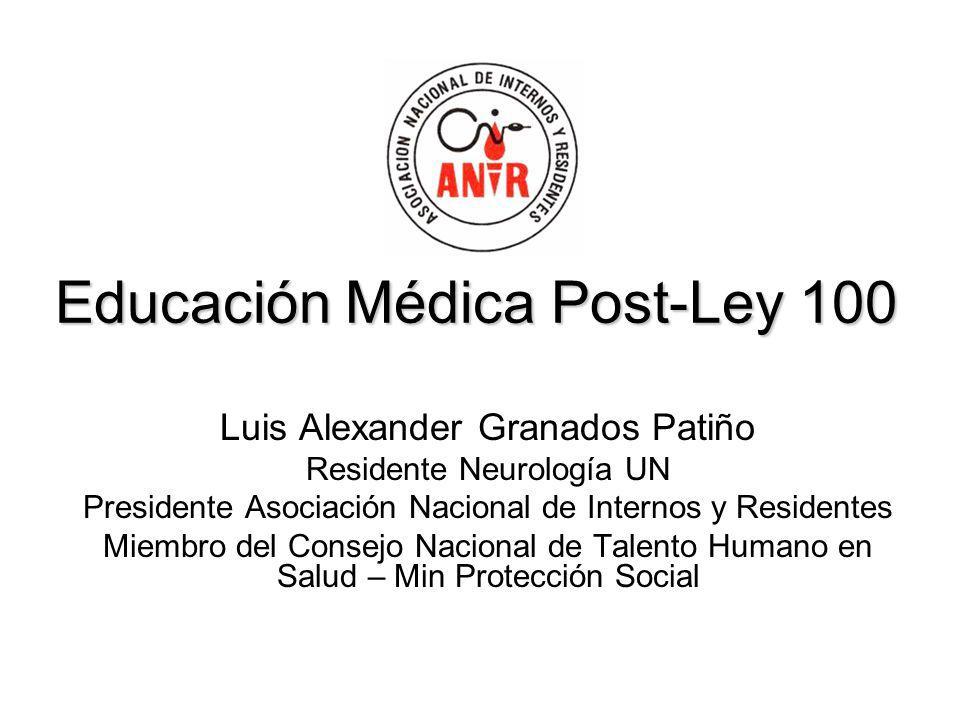 Educación Médica Post-Ley 100 Luis Alexander Granados Patiño Residente Neurología UN Presidente Asociación Nacional de Internos y Residentes Miembro d