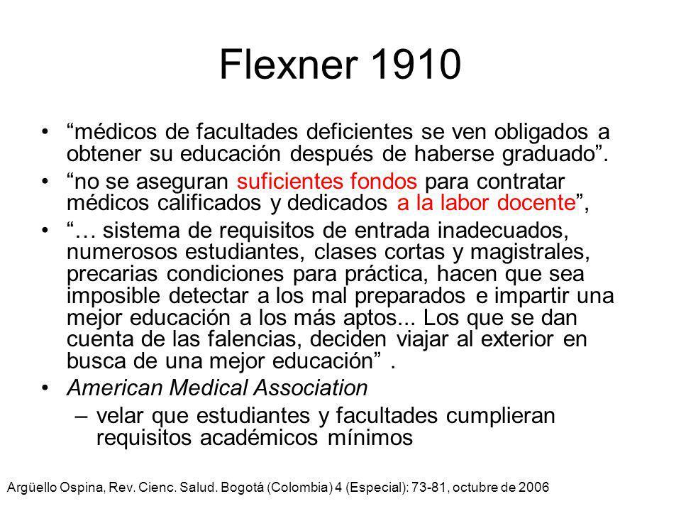 Flexner 1910 médicos de facultades deficientes se ven obligados a obtener su educación después de haberse graduado. no se aseguran suficientes fondos
