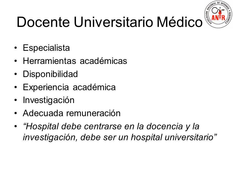 Docente Universitario Médico Especialista Herramientas académicas Disponibilidad Experiencia académica Investigación Adecuada remuneración Hospital de