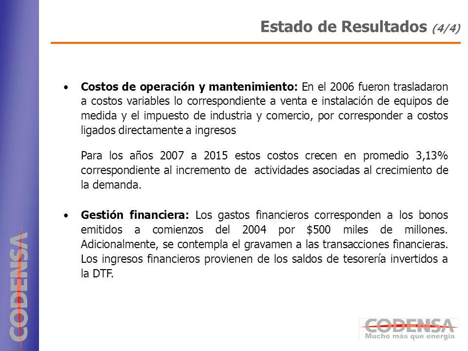 18 Costos de operación y mantenimiento: En el 2006 fueron trasladaron a costos variables lo correspondiente a venta e instalación de equipos de medida