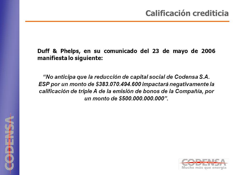 28 Duff & Phelps, en su comunicado del 23 de mayo de 2006 manifiesta lo siguiente: No anticipa que la reducción de capital social de Codensa S.A. ESP