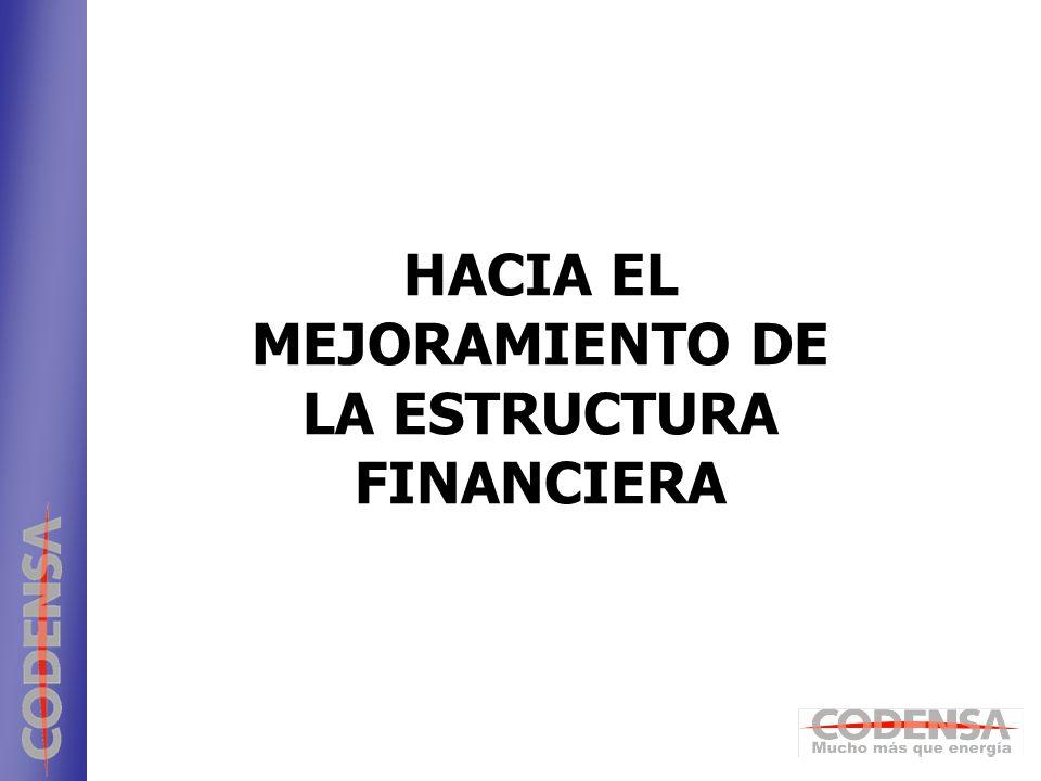4 Estructura financiera actual * Pasivo Financiero / (Pasivo Financiero + Patrimonio) 18%* 30/04/06REFERENTE 40%* 82%60%