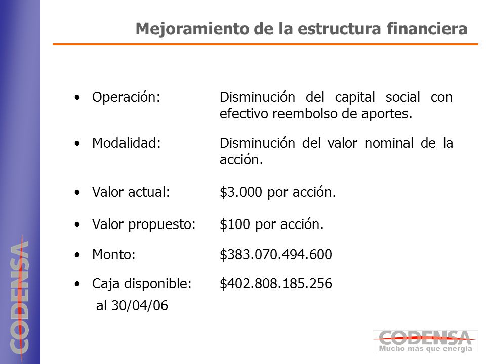 7 Operación:Disminución del capital social con efectivo reembolso de aportes. Modalidad:Disminución del valor nominal de la acción. Valor actual:$3.00