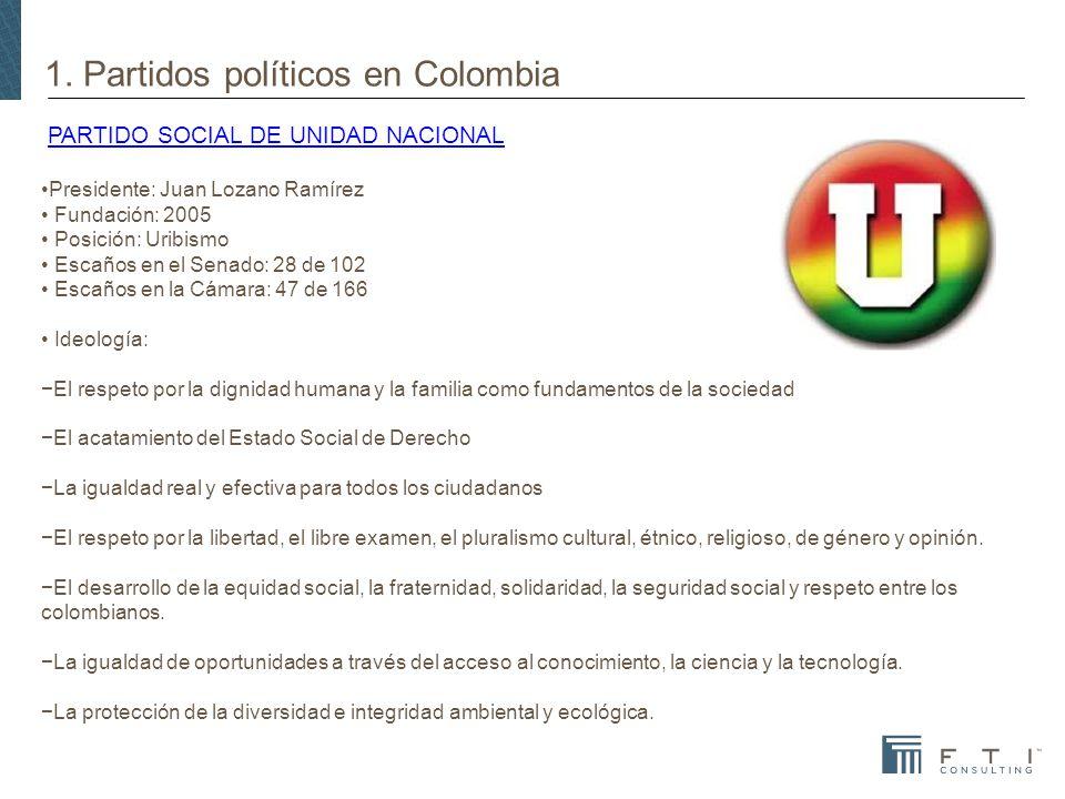 1. Partidos políticos en Colombia PARTIDO SOCIAL DE UNIDAD NACIONALPARTIDO SOCIAL DE UNIDAD NACIONAL Presidente: Juan Lozano Ramírez Fundación: 2005 P