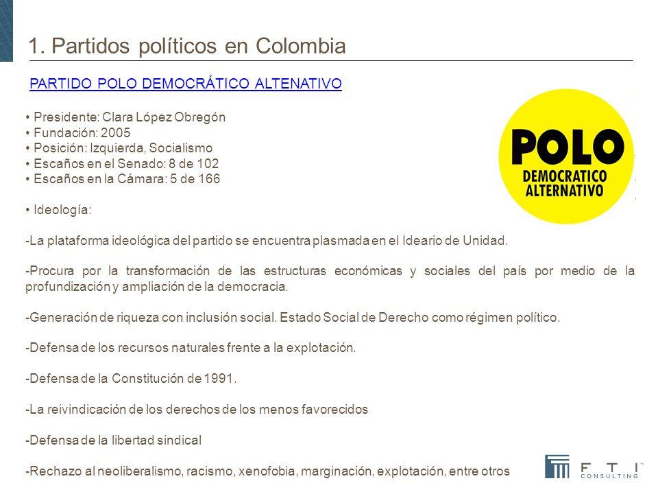 1. Partidos políticos en Colombia PARTIDO POLO DEMOCRÁTICO ALTENATIVOPARTIDO POLO DEMOCRÁTICO ALTENATIVO Presidente: Clara López Obregón Fundación: 20