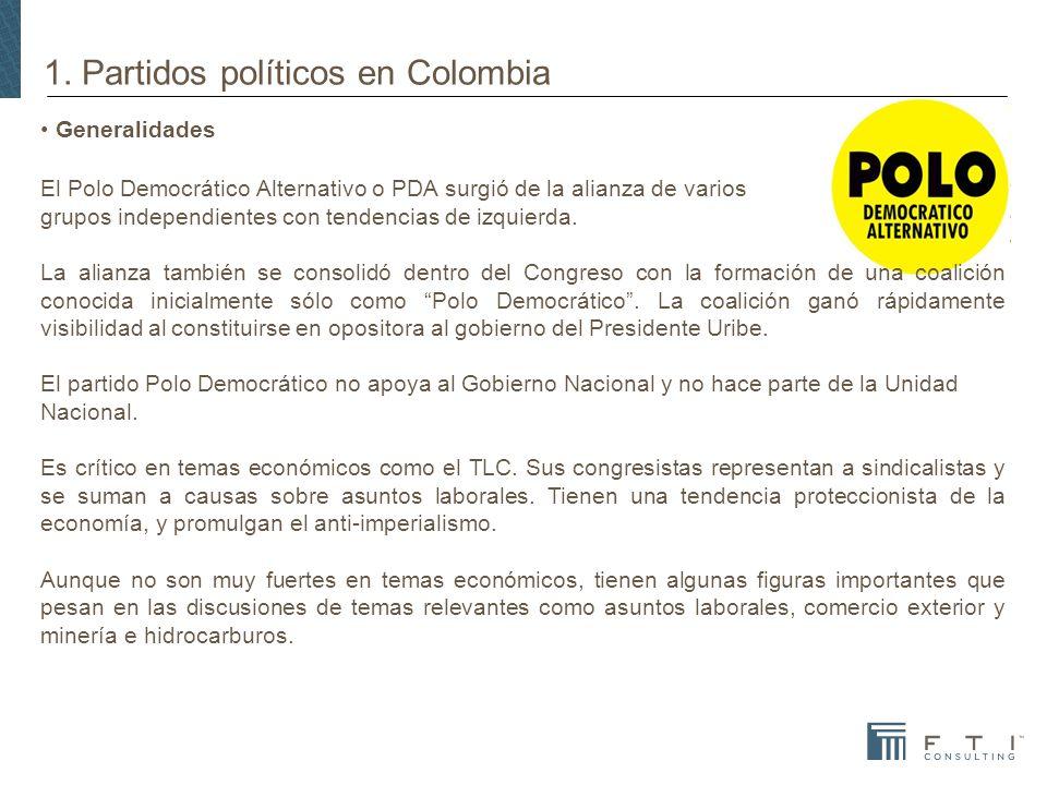 1. Partidos políticos en Colombia Generalidades El Polo Democrático Alternativo o PDA surgió de la alianza de varios grupos independientes con tendenc