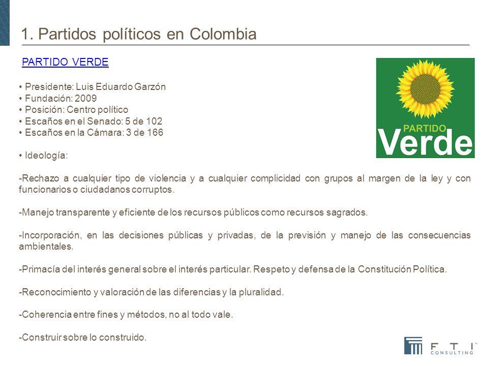 1. Partidos políticos en Colombia PARTIDO VERDEPARTIDO VERDE Presidente: Luis Eduardo Garzón Fundación: 2009 Posición: Centro político Escaños en el S