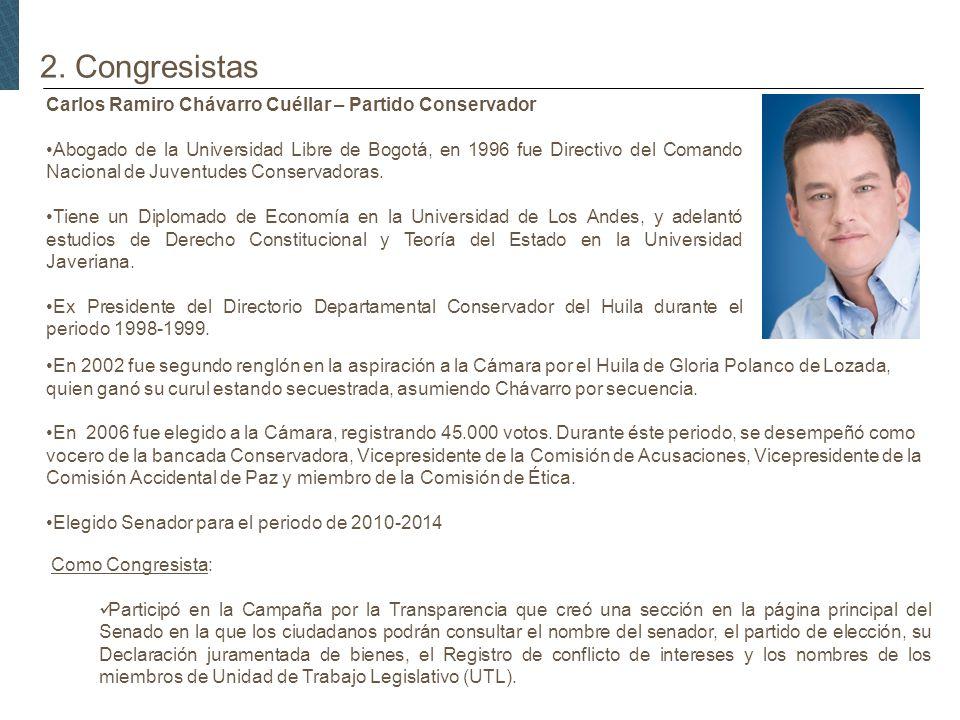 2. Congresistas Carlos Ramiro Chávarro Cuéllar – Partido Conservador Abogado de la Universidad Libre de Bogotá, en 1996 fue Directivo del Comando Naci