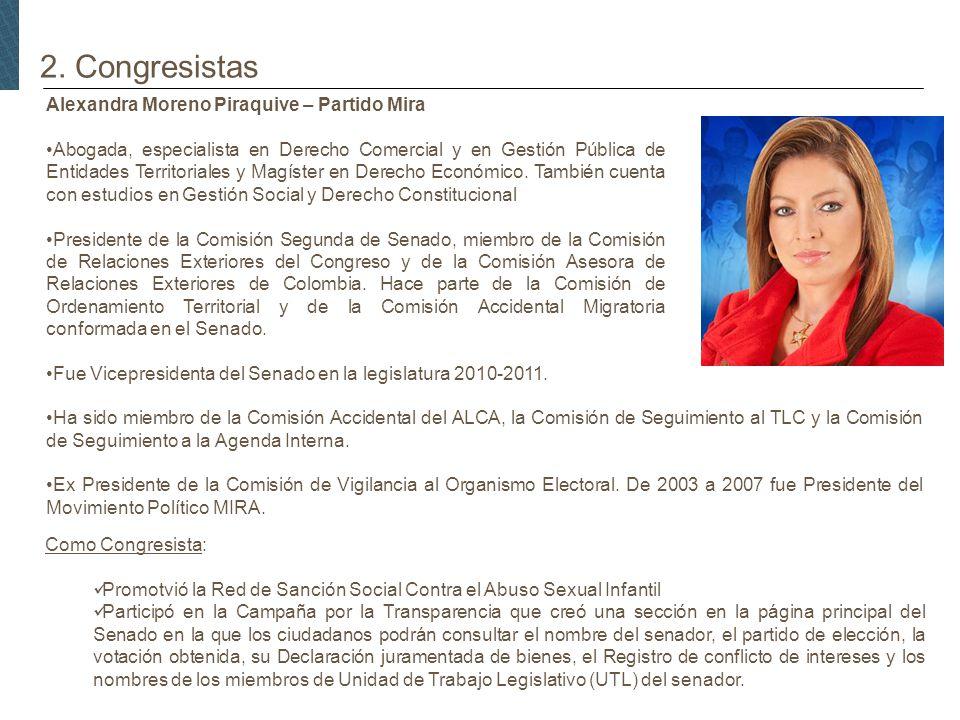 2. Congresistas Alexandra Moreno Piraquive – Partido Mira Abogada, especialista en Derecho Comercial y en Gestión Pública de Entidades Territoriales y