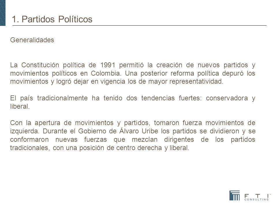 1. Partidos Políticos Generalidades La Constitución política de 1991 permitió la creación de nuevos partidos y movimientos políticos en Colombia. Una