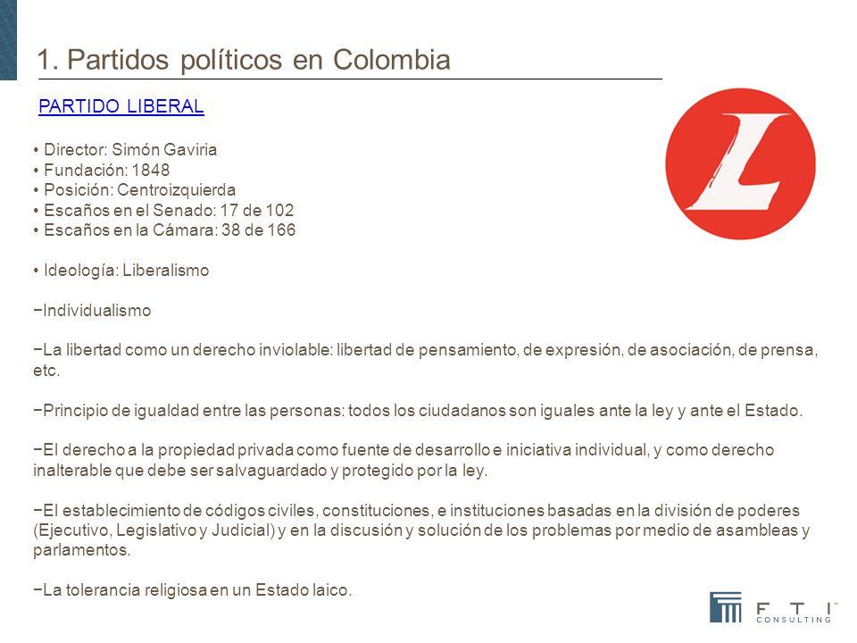 1. Partidos políticos en Colombia PARTIDO LIBERALPARTIDO LIBERAL Director: Simón Gaviria Fundación: 1848 Posición: Centroizquierda Escaños en el Senad