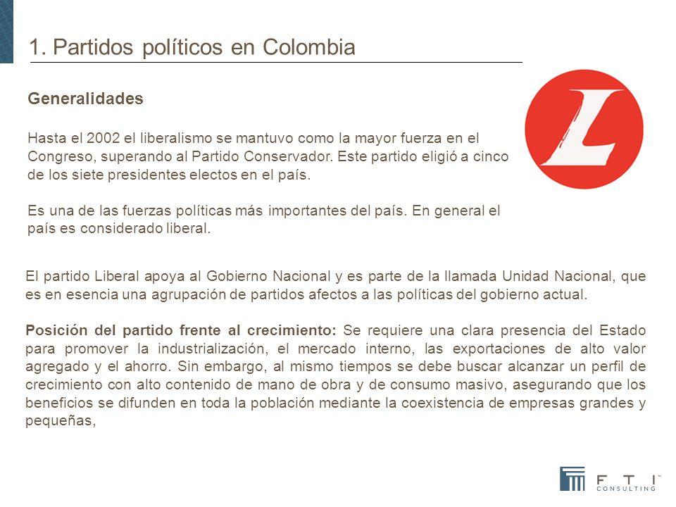 1. Partidos políticos en Colombia Generalidades Hasta el 2002 el liberalismo se mantuvo como la mayor fuerza en el Congreso, superando al Partido Cons