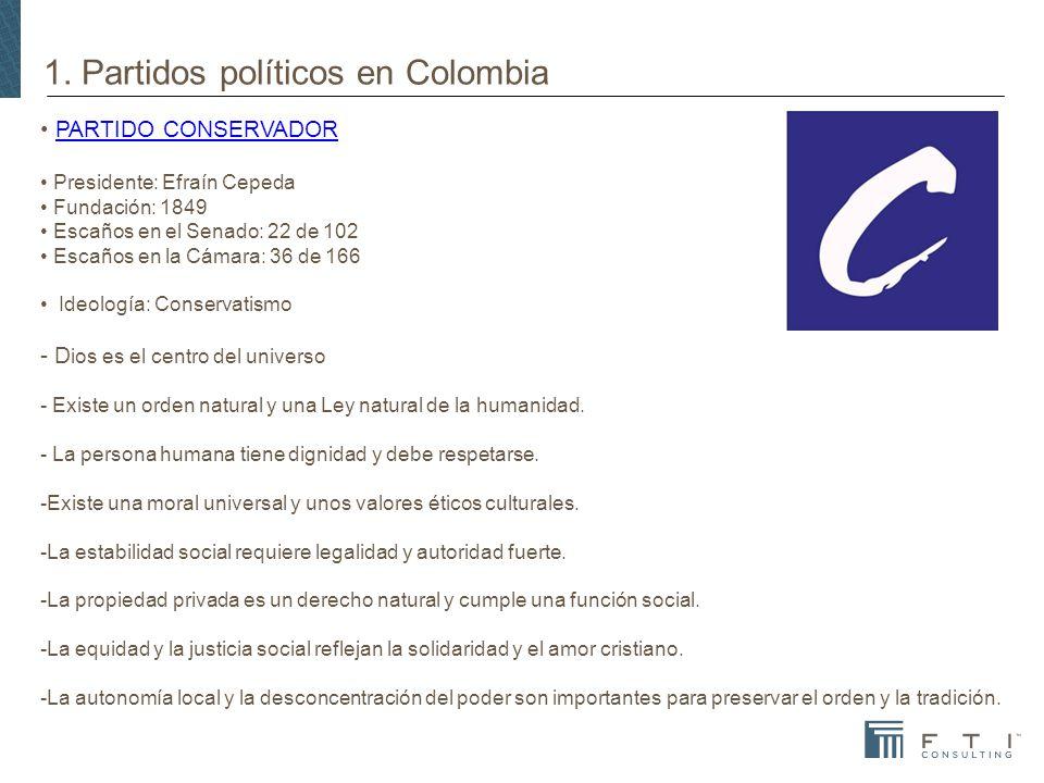 1. Partidos políticos en Colombia PARTIDO CONSERVADORPARTIDO CONSERVADOR Presidente: Efraín Cepeda Fundación: 1849 Escaños en el Senado: 22 de 102 Esc