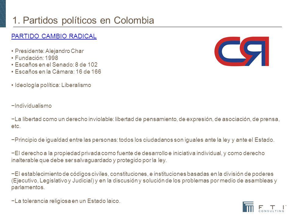 1. Partidos políticos en Colombia PARTIDO CAMBIO RADICAL Presidente: Alejandro Char Fundación: 1998 Escaños en el Senado: 8 de 102 Escaños en la Cámar