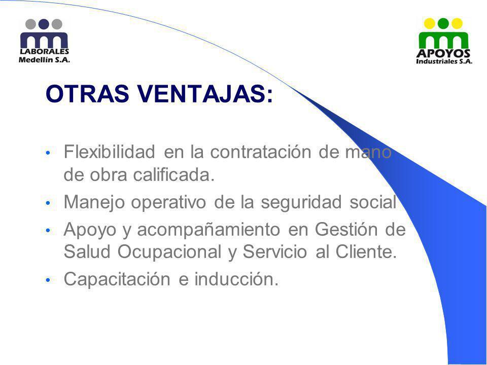 OTRAS VENTAJAS: Flexibilidad en la contratación de mano de obra calificada. Manejo operativo de la seguridad social Apoyo y acompañamiento en Gestión