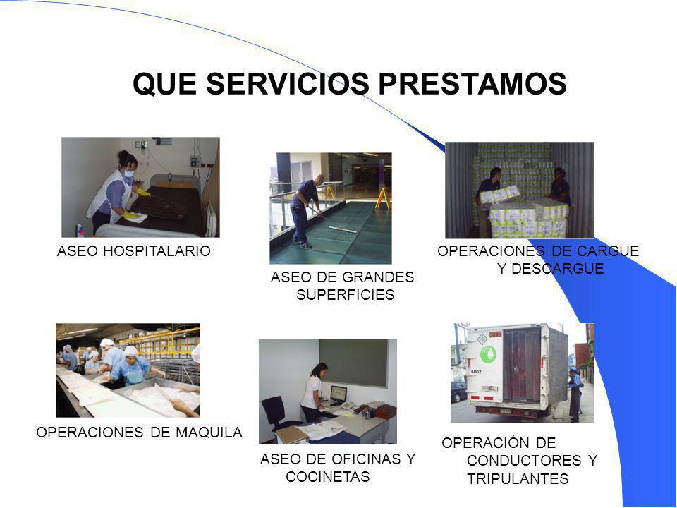 ASEO HOSPITALARIOOPERACIONES DE CARGUE Y DESCARGUE OPERACIONES DE MAQUILA ASEO DE GRANDES SUPERFICIES ASEO DE OFICINAS Y COCINETAS OPERACIÓN DE CONDUC