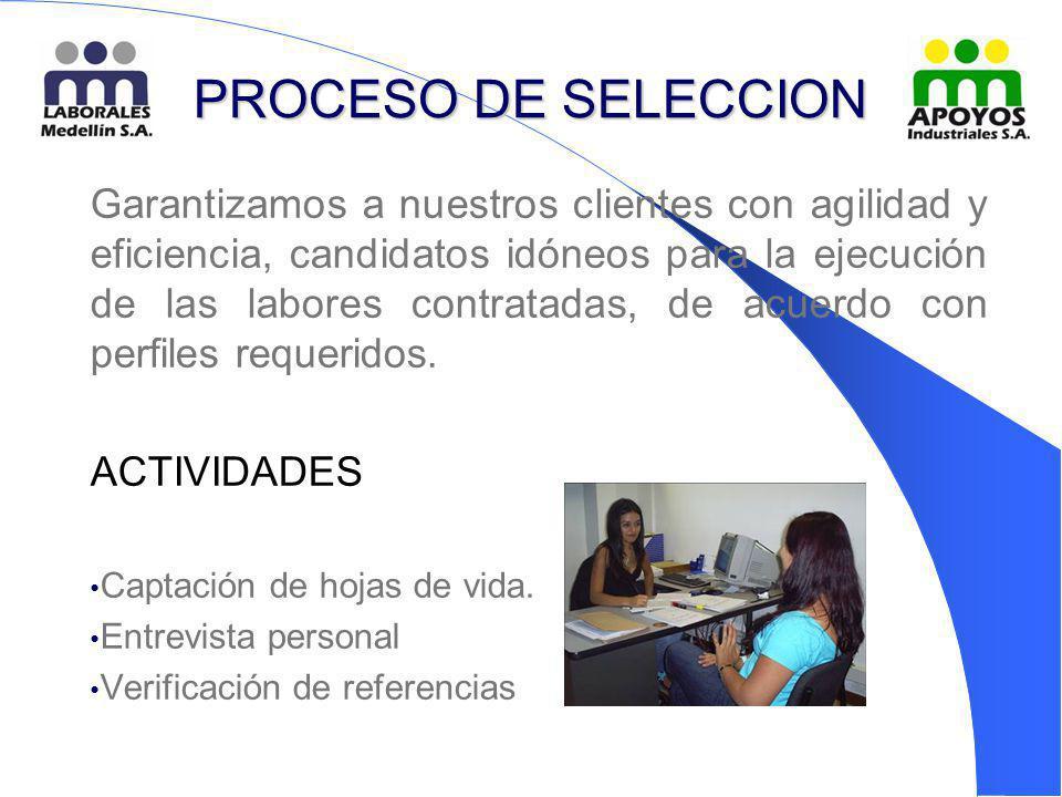 PROCESO DE SELECCION Garantizamos a nuestros clientes con agilidad y eficiencia, candidatos idóneos para la ejecución de las labores contratadas, de a