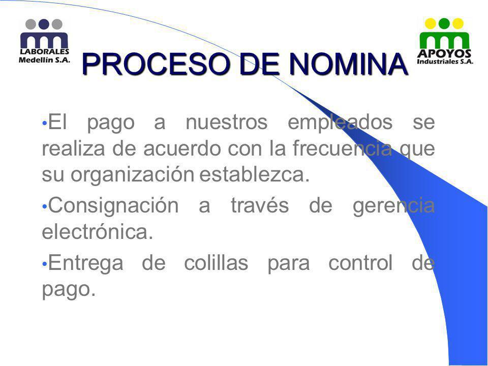 PROCESO DE NOMINA El pago a nuestros empleados se realiza de acuerdo con la frecuencia que su organización establezca. Consignación a través de gerenc