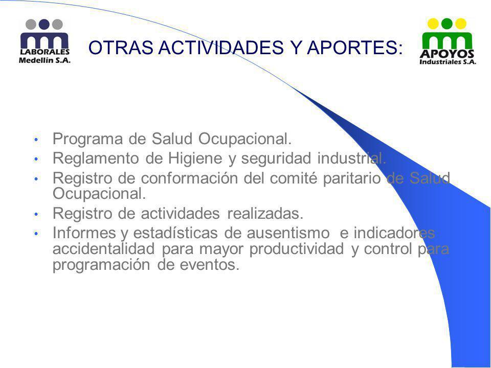 Programa de Salud Ocupacional. Reglamento de Higiene y seguridad industrial. Registro de conformación del comité paritario de Salud Ocupacional. Regis