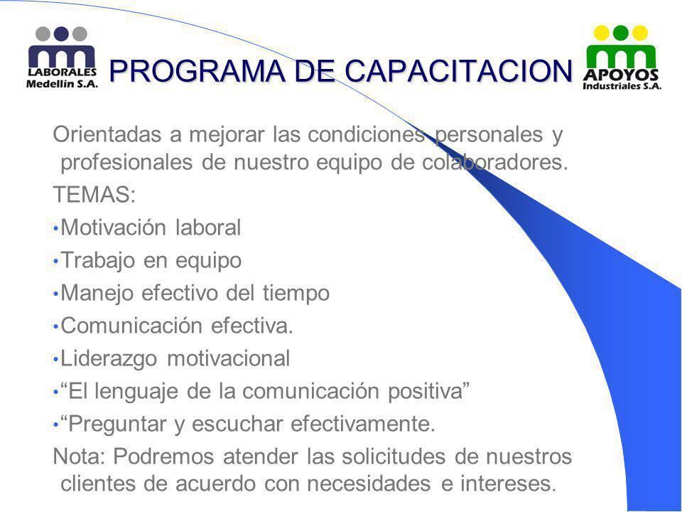 PROGRAMA DE CAPACITACION Orientadas a mejorar las condiciones personales y profesionales de nuestro equipo de colaboradores. TEMAS: Motivación laboral