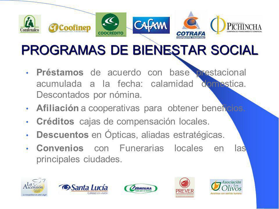 PROGRAMAS DE BIENESTAR SOCIAL Préstamos de acuerdo con base prestacional acumulada a la fecha: calamidad domestica. Descontados por nómina. Afiliación