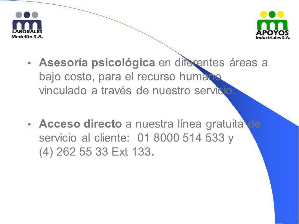 Asesoría psicológica en diferentes áreas a bajo costo, para el recurso humano vinculado a través de nuestro servicio. Acceso directo a nuestra línea g