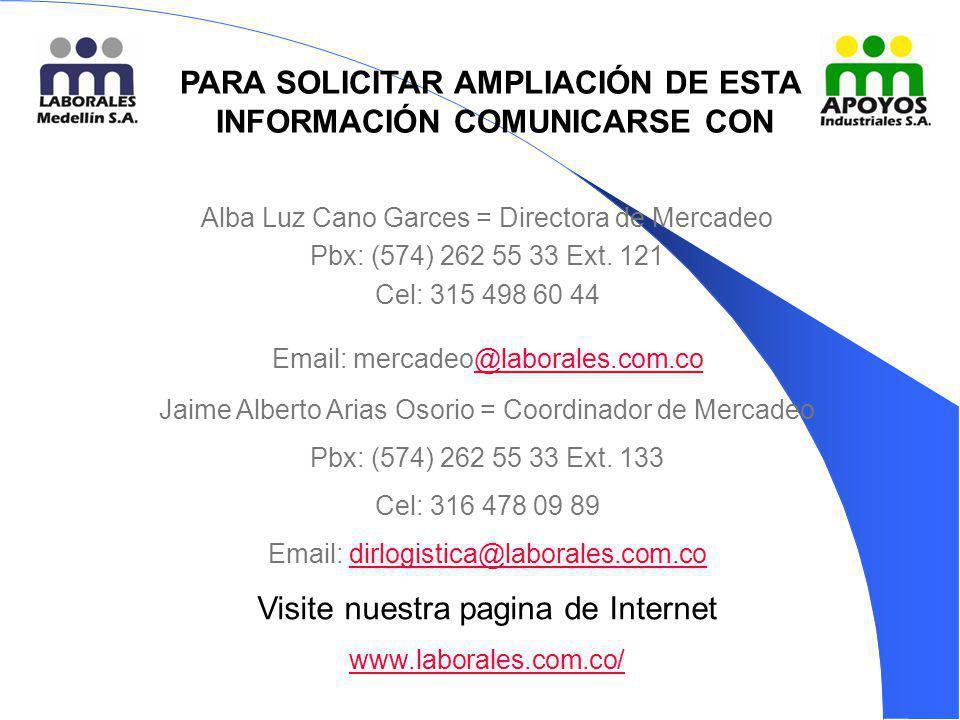 PARA SOLICITAR AMPLIACIÓN DE ESTA INFORMACIÓN COMUNICARSE CON: Alba Luz Cano Garces = Directora de Mercadeo Pbx: (574) 262 55 33 Ext. 121 Cel: 315 498
