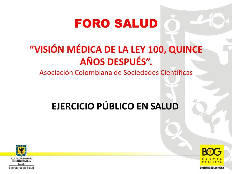 FORO SALUD VISIÓN MÉDICA DE LA LEY 100, QUINCE AÑOS DESPUÉS. Asociación Colombiana de Sociedades Científicas EJERCICIO PÚBLICO EN SALUD