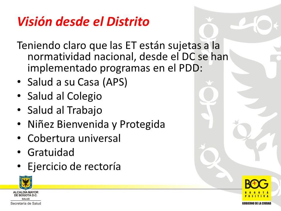 Visión desde el Distrito Teniendo claro que las ET están sujetas a la normatividad nacional, desde el DC se han implementado programas en el PDD: Salu