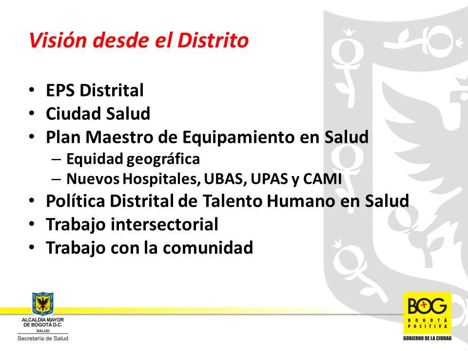 Visión desde el Distrito EPS Distrital Ciudad Salud Plan Maestro de Equipamiento en Salud – Equidad geográfica – Nuevos Hospitales, UBAS, UPAS y CAMI