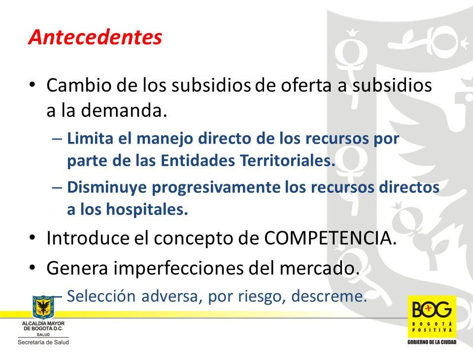 Antecedentes Cambio de los subsidios de oferta a subsidios a la demanda. – Limita el manejo directo de los recursos por parte de las Entidades Territo