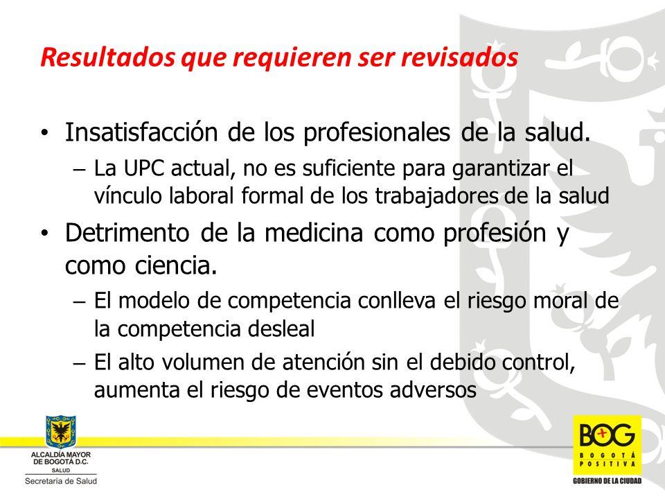 Resultados que requieren ser revisados Insatisfacción de los profesionales de la salud. – La UPC actual, no es suficiente para garantizar el vínculo l