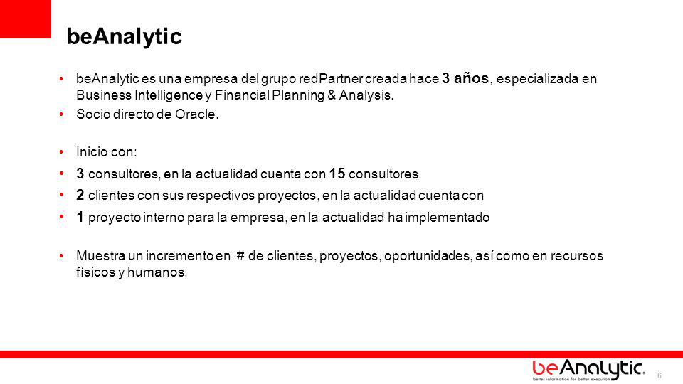 6 beAnalytic beAnalytic es una empresa del grupo redPartner creada hace 3 años, especializada en Business Intelligence y Financial Planning & Analysis
