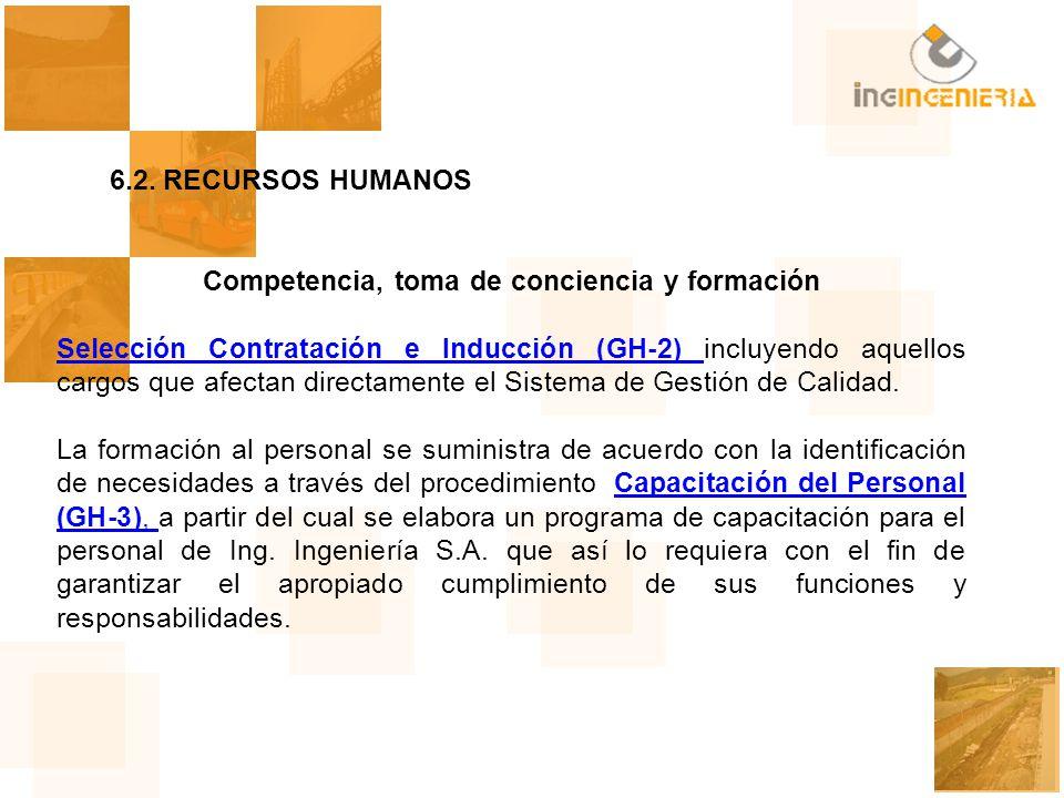 6.2.RECURSOS HUMANOS Competencia, toma de conciencia y formación Selección Contratación e Inducción (GH-2) Selección Contratación e Inducción (GH-2) i