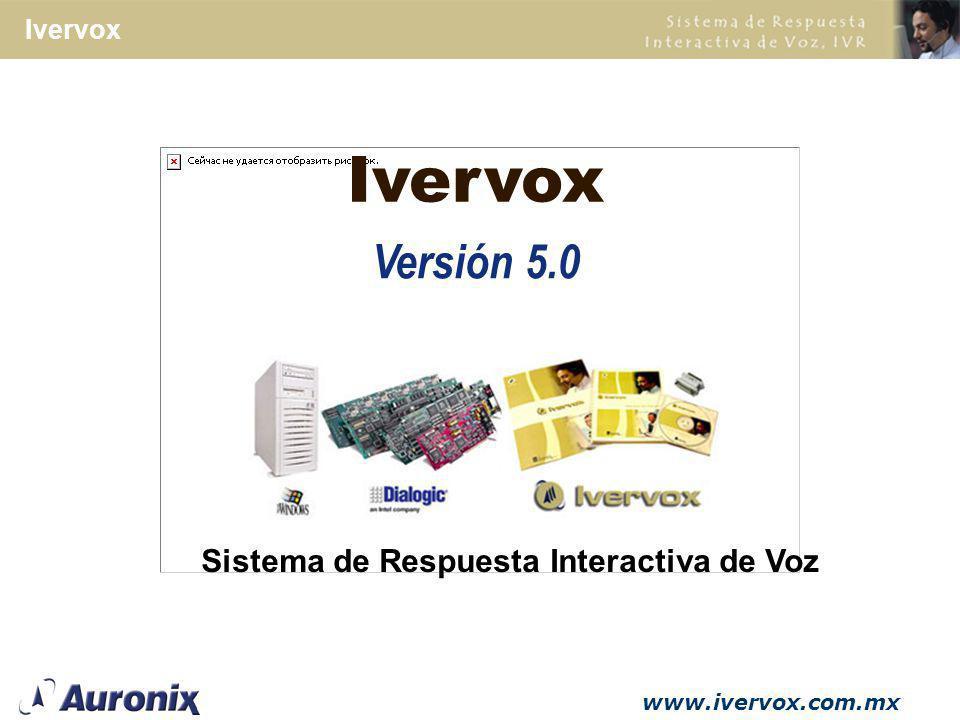 www.ivervox.com.mx Ivervox Maneja ODBC, OLE DB, sockets TCP/IP y VoiceXML para conexi ó n a base de datos Programaci ó n en Java y VoiceXML.