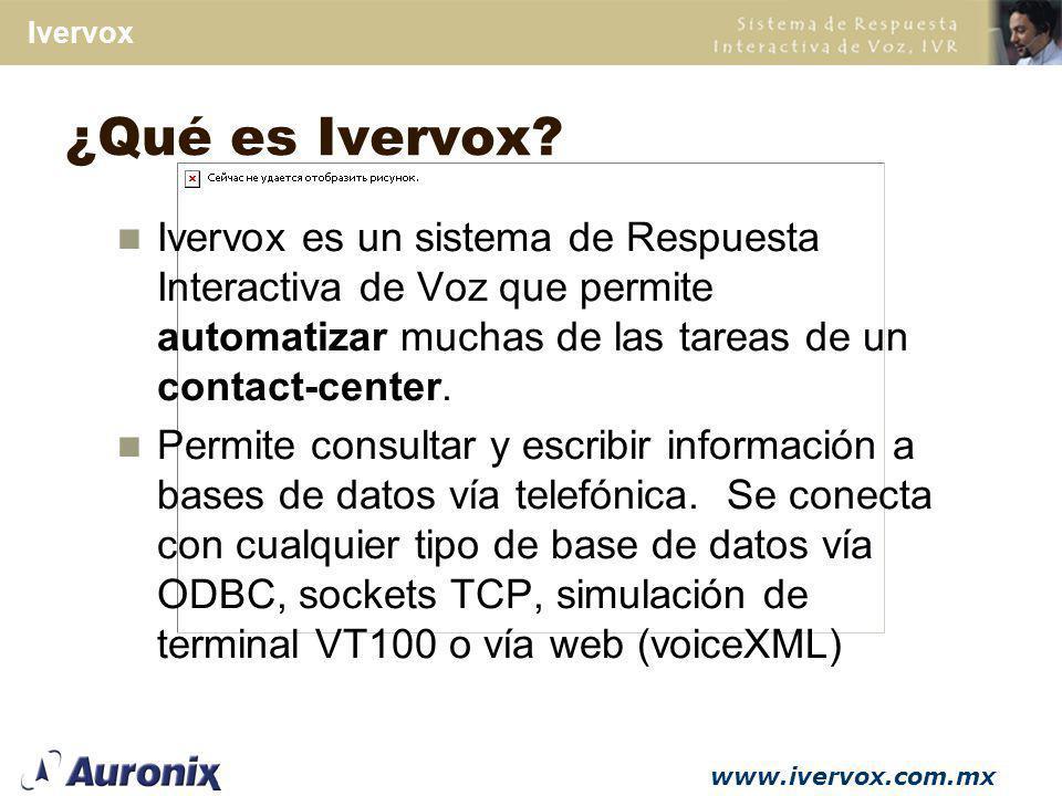 www.ivervox.com.mx Ivervox Arquitectura abierta Integraci ó n con cualquier base de datos que maneje protocolo ODBC Manejo de sockets TCP/IP, etc.
