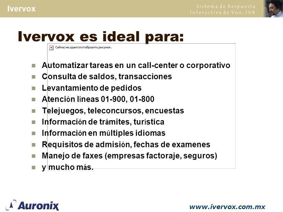 www.ivervox.com.mx Ivervox Reconocimiento de Voz Texto a Voz Servidor de Fax Fax Back y Fax en Demanda Manejo de Email Integraci ó n CTI Módulos Opcionales